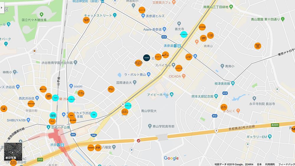 渋谷青山周辺テーラーマップ