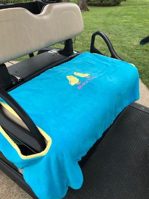 Turquoise Birdie Terry Cloth Golf Cart Seat Cover