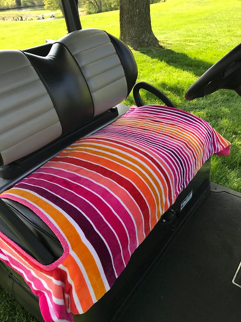 Pink Stripe Terrry Cloth Golf Cart Seat Cover