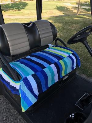 Multi Blue Stripe Terry Cloth Golf Cart Seat Cover