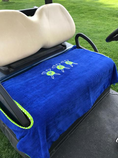 Monogram or Par Blue & Green Crossed Tees Terry Cloth Seat Cover