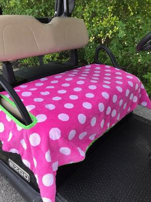 Pink Polka Dot Terry Cloth Golf Cart Seat Cover
