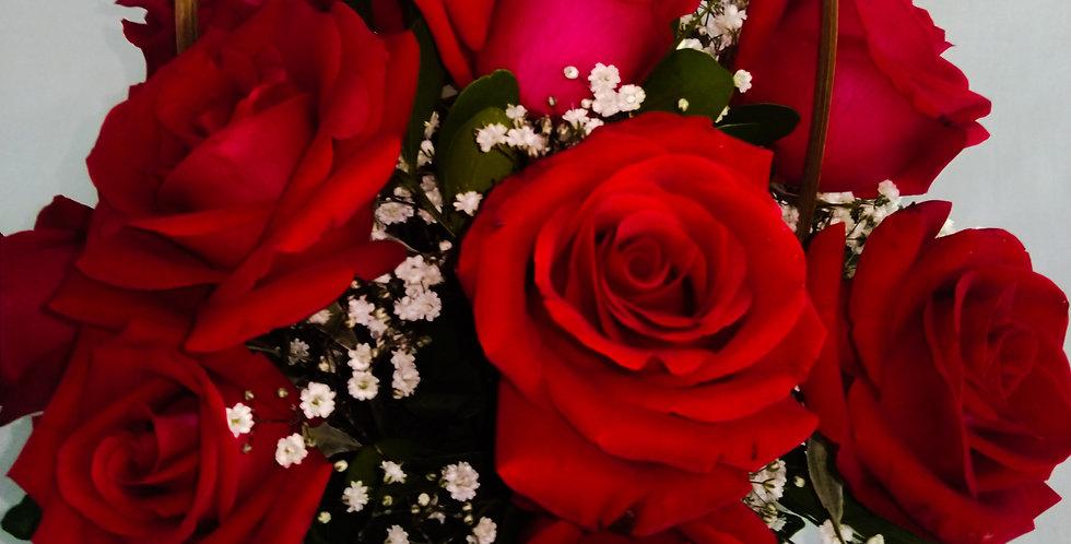 Cesta 12 rosas vermelhas