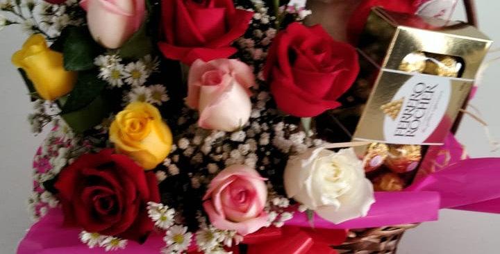 Cesta de rosas