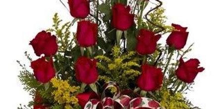 Arranjo clássico de rosas vermelhas