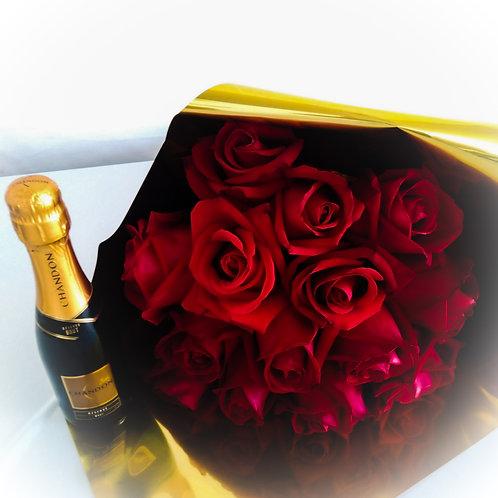 Buque de rosas e espumante
