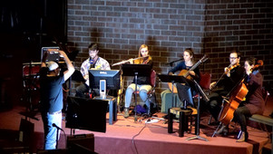 "Nebula Ensemble ""sound paints"" at Cherry Creek Presbyterian Church, spring 2019. Left to right: Stephen Bailey, Danny Sweet, Catherine Flinchum, Sarah Perske, Arlo Adams, Julia Emery"