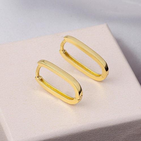14K Gold Oval Earring