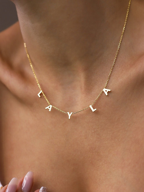 14k Spaced Letter Necklace-Personalized