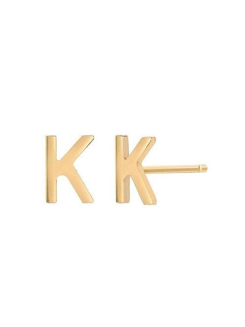 14k Gold Letter Earring