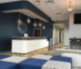 Custom reception area/waiting room at Cook Orthodontics