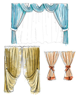 Curtain-draped-with-lambrequins-isolated