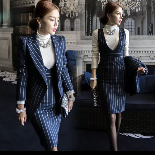 Navy Striped & black Striped fashionstyle 2 pieces Suits