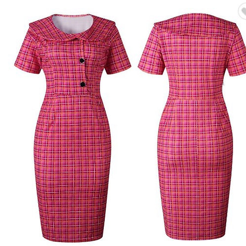 Plaid printed bodycon midi dress