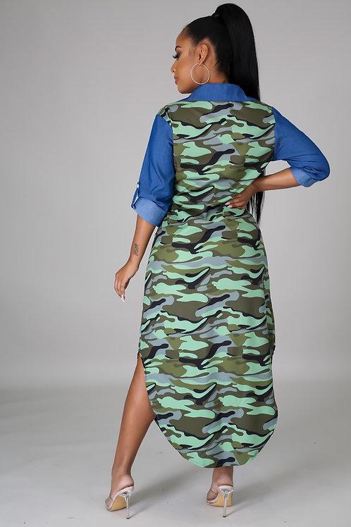 Green Camo Denim Dress