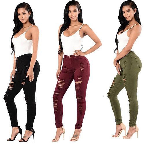 Denim Skinny Ripper Hole Jeans