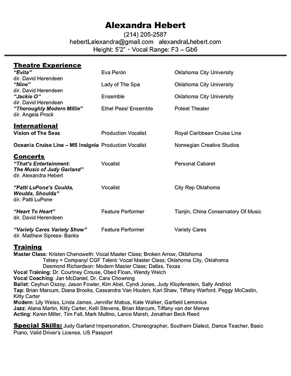 2019 Alexandra Hebert Performance Resume