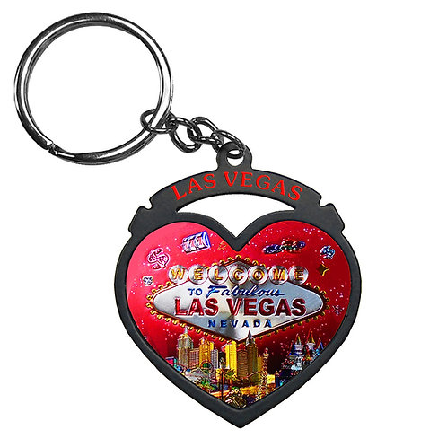 LV Metal Heart Keychain Red