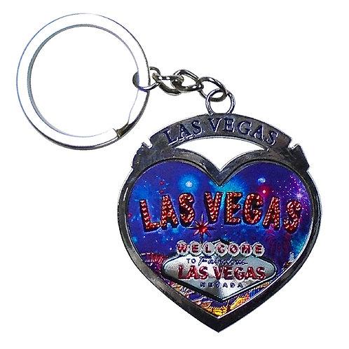 LV Metal Heart Keychain Blue