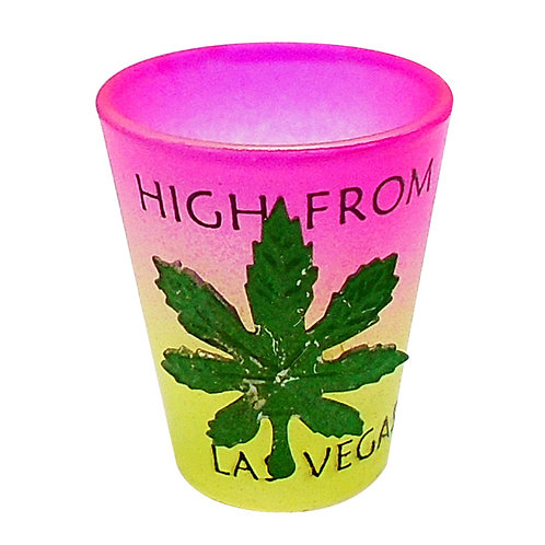 Pink to Yellow Fade Shot Glass with Metal Pot Leaf