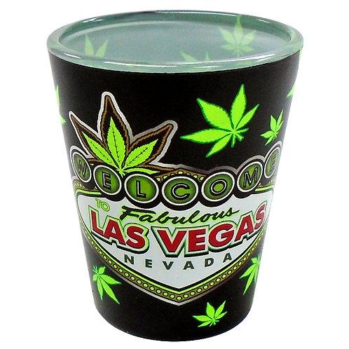 Green Welcome to Vegas Shot Glass