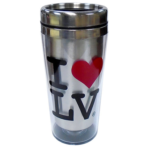 I Love LV Silver Travel Mug