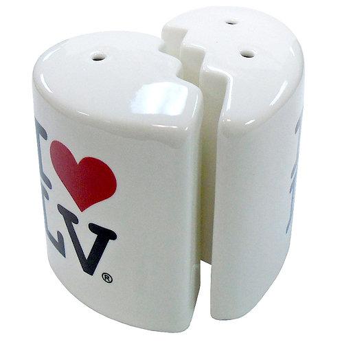 I Love LV Heart Salt and Pepper Shaker Set