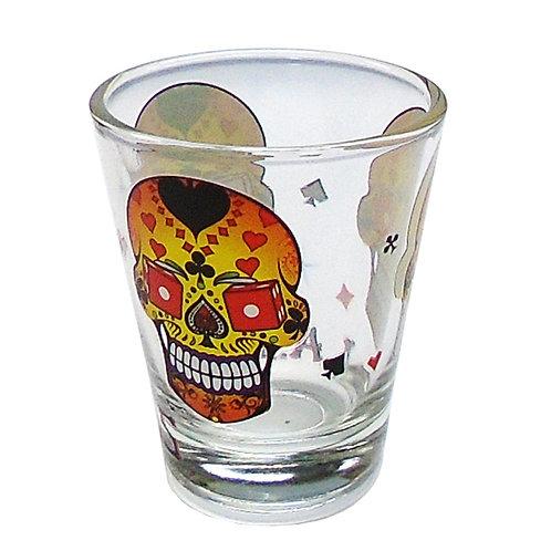 Las Vegas 3 Skull Gamblers Shot Glass
