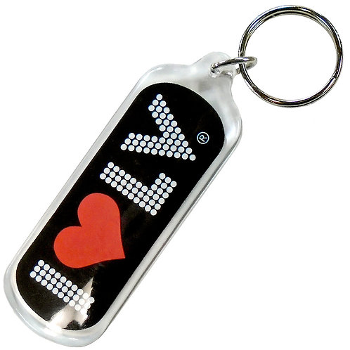 I Love LV Dotted Logo Keychain