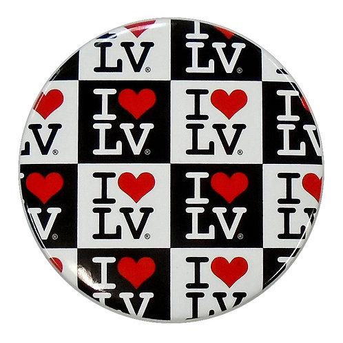 I Love LV Checkered Magnet
