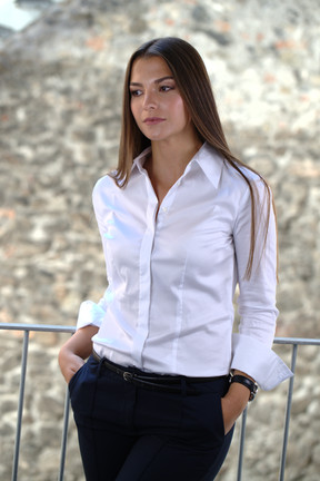 Marina in Collection By Kamales shirt - SNOW
