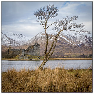 reflections, trees, mountains, clouds, , scotland, castel, kichurn castle, snow, highlands