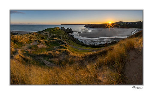 reflections, trees, mountains, clouds, south wales, three cliffs bay, seaside, beach, sunset, sun star, pano, panorama