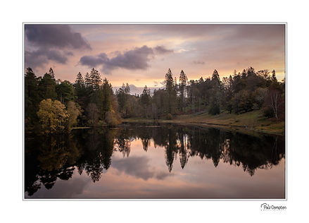 Tarn Hows, reflections, trees, mountains, clouds, Tarn Hows Sunrise