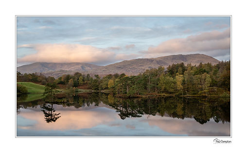 Tarn Hows, reflections, trees, mountains, clouds