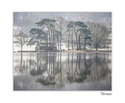 Tarn Hows, reflections, trees, mountains, clouds, lake district, Cumbria, Coniston water, barn,