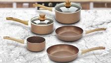 7-Piece Marble Non-Stick Stone Rose Pan Set