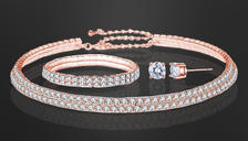 Rose Gold Double Row Tri-Set With Crystals From Swarovski
