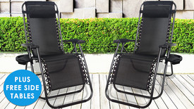 PRE-SALE: Pair of Zero Gravity Loungers + FREE Side Tables - 2 Colours