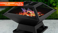 3-in-1 Square Fire Pit with BBQ Grill