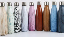 Wood Grain Print Stainless Steel Water Bottle 500ml - 9 Designs