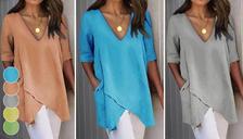 Long Women's Asymmetric V-Neck Top - 5 Colours & 8 Sizes