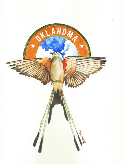 Oklahoma Scissortail Water Color Print (Signed Print)