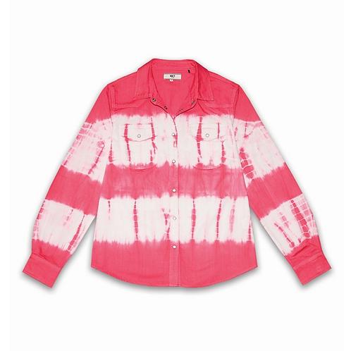 Sobrecamisa tie die pink