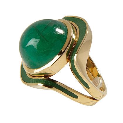 S141 Ring mit Smaragd und Feuer-Email