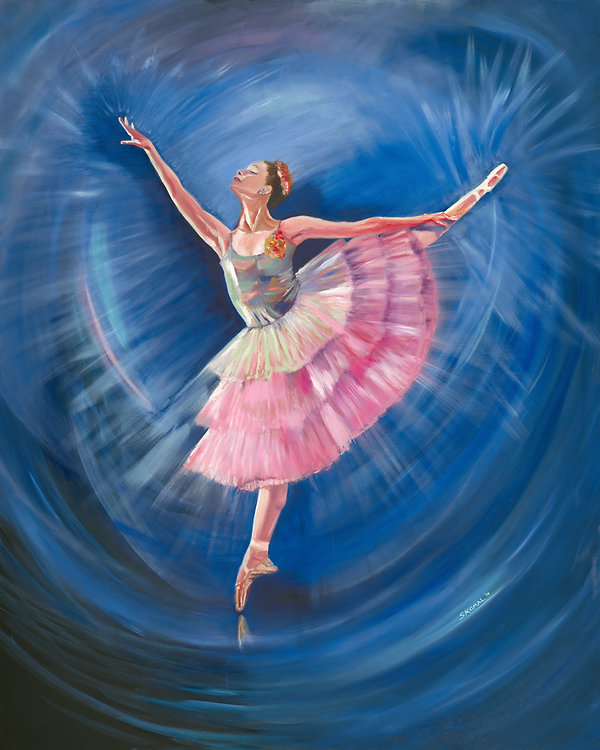 "Ballerina in the Wave, oil on canvas, 48"" x 60"""