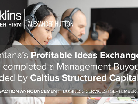Profitable Ideas Exchange has completed a Management Buyout funded by Caltius Structured Capital