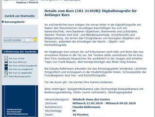 VHS Rhein-Sieg - Digitale Fotografie für Anfänger
