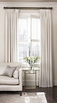 full height window shutters with curtain