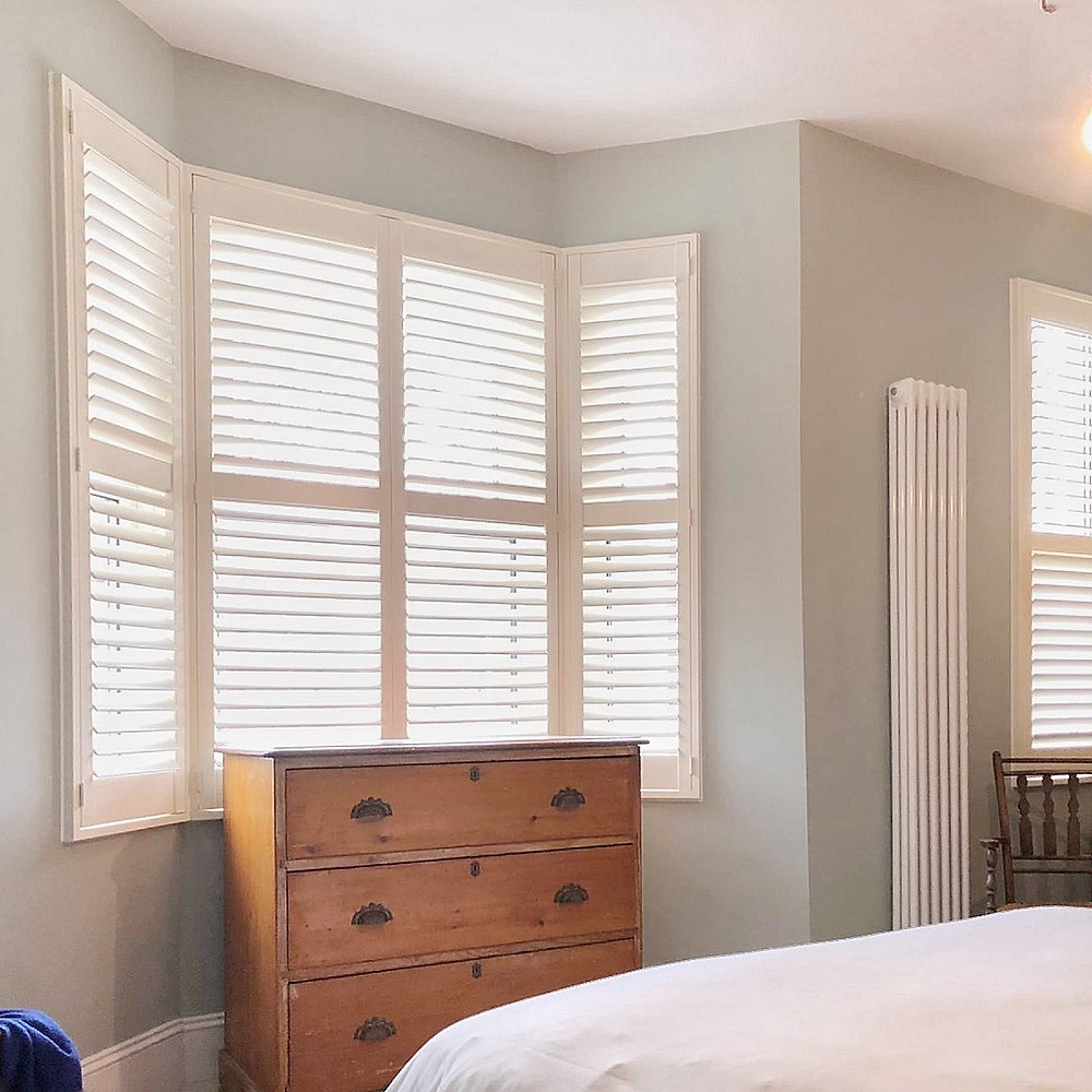 Full height bedroom window shutters